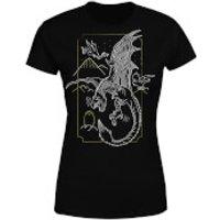 Harry Potter Dragon Line Art Women's T-Shirt - Black - M - Black