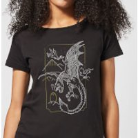 Harry Potter Dragon Line Art Women's T-Shirt - Black - M - Black