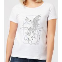 Harry Potter Dragon Line Art Women's T-Shirt - White - XXL - White - Dragon Gifts