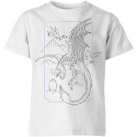 Harry Potter Dragon Line Art Kids' T-Shirt - White - 11-12 Years - White - Dragon Gifts