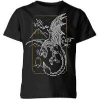 Harry Potter Dragon Line Art Kids' T-Shirt - Black - 11-12 Years - Black - Dragon Gifts