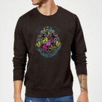 Harry Potter Neon Hogwarts Crest Sweatshirt - Black - M - Black