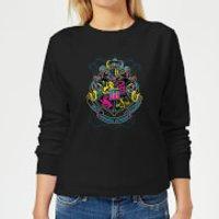 Harry Potter Neon Hogwarts Crest Women's Sweatshirt - Black - 3XL - Black