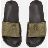 Superdry Women s Superdry Pool Slide Sandals   Black Pewter Glitter   S UK 3 4   Black