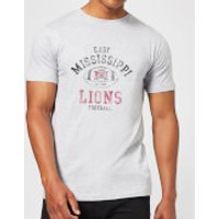 East Mississippi Community College Lions Distressed Football Men's T-Shirt - Grey - XXL - Grey - Football Gifts