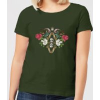 Natural History Museum Skulls And Flowers Women's T-Shirt - Forest Green - XXL - Forest Green - History Gifts