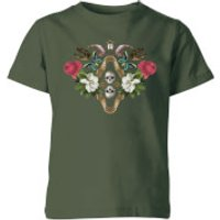 Natural History Museum Skulls And Flowers Kids' T-Shirt - Forest Green - 7-8 Years - Forest Green - History Gifts