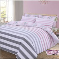 Dreamscene Fade Stripe Duvet Set - Pink - King - Pink