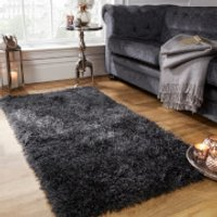 Sienna Soft, Shaggy, Thick Pile Rug 80 x 150cm - Charcoal - Soft Gifts