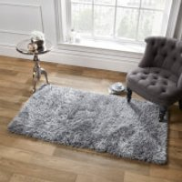Sienna Soft, Shaggy, Thick Pile Rug 160 x 230cm - Silver - Soft Gifts