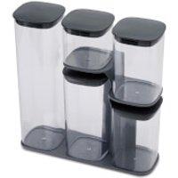 Joseph Joseph Podium 5-Piece Storage Jar Set With Stand - Grey