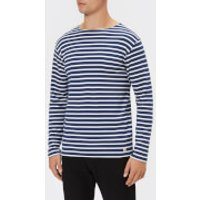 Armor Lux Men's Mariniere Heritage Long Sleeve T-Shirt - Polo/Milk - M - Blue
