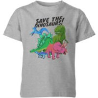 Save The Dinosaurs Kids' T-Shirt - Grey - 11-12 Years - Grey - Dinosaurs Gifts