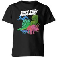 Save The Dinosaurs Kids' T-Shirt - Black - 3-4 Years - Black - Dinosaurs Gifts