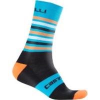 Castelli Gregge 15 Socks - L-XL - Black/Orange Fluo