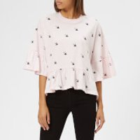 McQ-Alexander-McQueen-Womens-Loose-Ruffle-TShirt-Post-It-Pink-L-Pink
