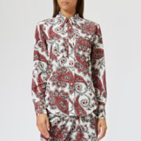 Isabel-Marant-Womens-Tania-Printed-Techno-Shirt-WhiteRed-FR-36S-Multi