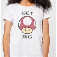 Nintendo Super Mario Get Big Mushroom Women's T-Shirt - White - S - White