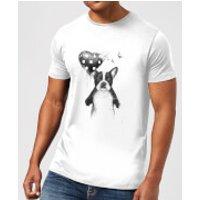 Bulldog And Balloon Mens T-Shirt - White - 5XL - White