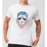 Bandana Lion Mens T-Shirt - White - 5XL - White