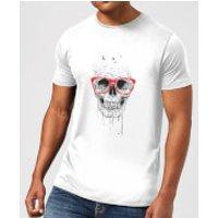 Skull And Glasses Mens T-Shirt - White - 5XL - White