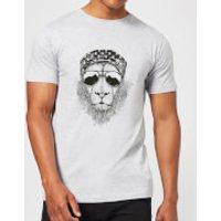 Bandana Lion Mens T-Shirt - Grey - L - Grey