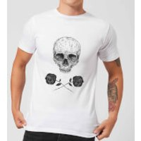 Balazs Solti Skull And Roses Men's T-Shirt - White - XXL - White - Roses Gifts