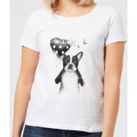 Bulldog And Balloon Womens T-Shirt - White - 5XL - White