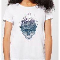 Skulls And Flowers Womens T-Shirt - White - 5XL - White