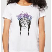 Image of Balazs Solti Lion And Flowers Women's T-Shirt - White - 5XL - White