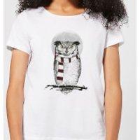 Balazs Solti Owl And Moon Women's T-Shirt - White - XS - White