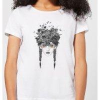 Native Girl Womens T-Shirt - White - L - White