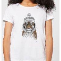 Winter Tiger Womens T-Shirt - White - 5XL - White