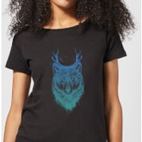 Wolf Womens T-Shirt - Black - S - Black