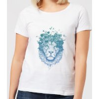 Balazs Solti Lion And Butterflies Women's T-Shirt - White - L - White