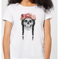 Balazs Solti Skull And Flowers Women's T-Shirt - White - L - White