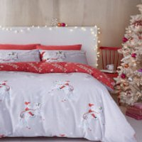 Catherine Lansfield Christmas Unicorn Duvet Set - Single - Grey
