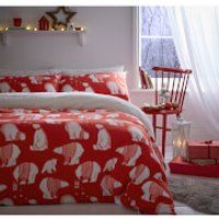 Catherine Lansfield Polar Bear Fleece Duvet Set - Red - Single - Red