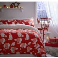 Catherine Lansfield Polar Bear Fleece Duvet Set - Red - Double - Red