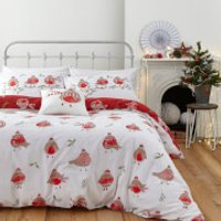 Catherine Lansfield Robins Duvet Set - Red - Single - Red