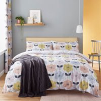 Catherine Lansfield Retro Floral Duvet Set - Pastel - Single - Pastel