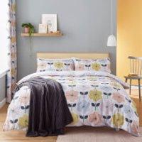 Catherine Lansfield Retro Floral Duvet Set - Pastel - Double - Pastel