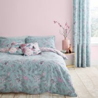 Catherine Lansfield Oriental Butterfly Duvet Set - Duck Egg - Single - Duck Egg