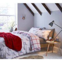 Catherine Lansfield Stag Brushed Duvet Set - Single - Natural