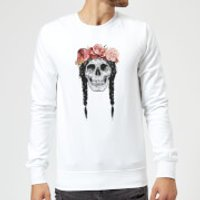 Balazs Solti Skull And Flowers Sweatshirt - White - M - White