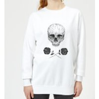 Skull And Roses Women's Sweatshirt - White - XL - White - Roses Gifts