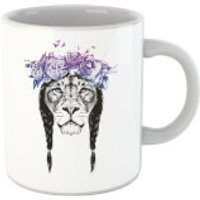 Balazs Solti Lion And Flowers Mug - Lion Gifts
