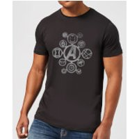 Avengers Distressed Metal Icon Men's T-Shirt - Black - 5XL - Black