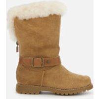UGG Kid's Nessa Suede Buckle Boots - Chestnut - UK 12 Kids - Tan