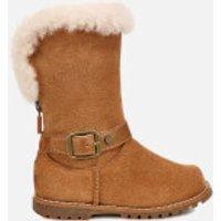 UGG Kid's Nessa Suede Buckle Boots - Chestnut - UK 10 Kids - Tan